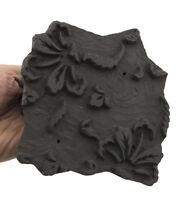 Tampone Inchiostro Antico Batik Legno Lavorato Stampa Tessuto 15cm India 8053