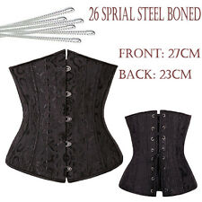 Black Underbust Corset Lace Up Metal Boned Bustier Waist Cincher Body Shaper KD