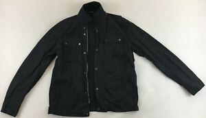 Barbour International black motorcycle jacket denim windbreaker mens Medium M