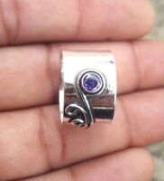 Amethyst 925 Sterling Silver Band  Ring Meditation Ring Size SRR11