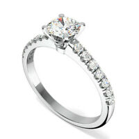0.72 Ct Diamond Engagement Ring 14K Solid White Gold Wedding Rings Size 5 6 7 8