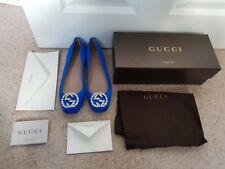 BNIB Gucci GG Diamond Rosa Seta Court Shoes UK4.5 Cobalt Blue