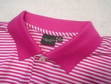 Fairway & Greene Signature Bar Stripe Lisle Pink Polo Golf Shirt NWT Medium $98