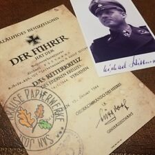 Knights Cross document: German Panzer Ace Michael Wittmann + signed photo