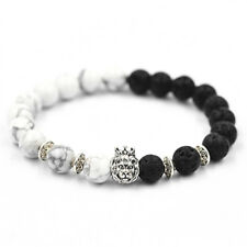 8mm Lava Rock Natural Stone Silver Crown Lion Head Men's Beaded Bracelets