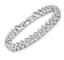 Swarovski Genuine Crystal Sterling Silver Bracelet + Gift box