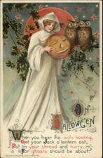 Halloween - Winsch Schmucker Witch White Cloak 1911 EXC COND Postcard