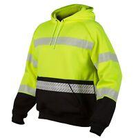 ML Kishigo Reflective Black Bottom Pullover Safety Sweatshirt, Yellow/Lime