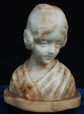 Carved Marble Alabaster Shoulder Bust of a Maiden %40 Off