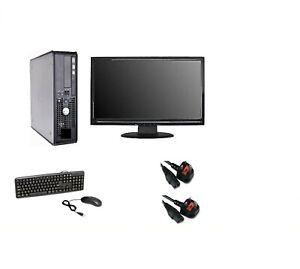 """DELL COMPUTER PC ✔ CORE 2 DUO ✔ 8GB RAM 19""""  WIDESCREEN MONITOR WINDOWS 10 OR 7"""