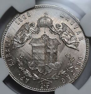 Austria - Hungary Silver Forint / Gulden 1868 GY.F. -  NGC MS 62