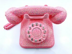 BlingUstyle AB-Pink crystal Square Retro real telephone for home/office gift
