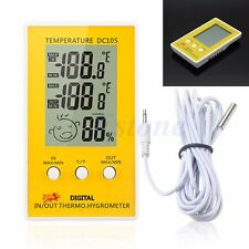 Digital LCD Indoor Outdoor Humidity Hygrometer Thermometer Meter Probe Cable C/F