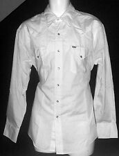 Ely Plains Red Tag Solid White Western Shirt Pearl Snap Vintage Large