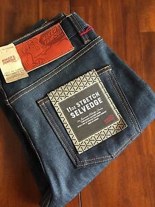 NAKED&FAMOUS DENIM  THE SUPER SKINNY TAPERED LEG SELVAGE ( W 32) $ 225