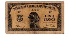 AFRIQUE Occidentale FRENCH WEST AFRICA  AOF Billet 5 Francs 1942 P28 0526881