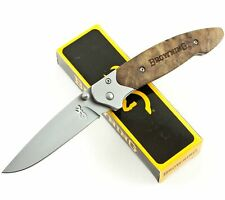 Browning Blond Wood Handles Buckmark Pocket Knife BR141 Framelock