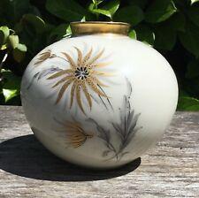 Vintage Lindner Bavaria Large Round Porcelain Vase Grey Gold Floral Decoration
