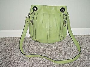 B Makowsky Green Leather Crossbody Handbag Purse