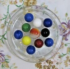 New listing Vintage Clear Glass Domed Round Flower Holder Frog & Marble Display, 11 Holes