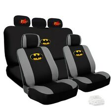 Batman Deluxe Car Seat Covers and Classic POW Logo Headrest Covers For VW