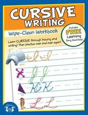 NEW 10pg Wipe-Clean Cursive Writing Reusable Workbook Elementary School Teaching