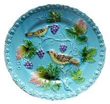 ANTIQUE MAJOLICA PLATE BIRDS GRAPES VINES GERMAN FOLK ART CAKE CERAMIC PLATES