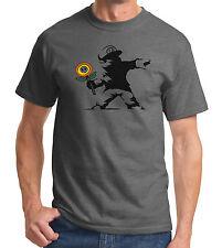 Mario Banksy T Shirt Power Up Grey Gaming Nerd Geek T-Shirt