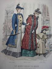 """69/ GRAVURE DE MODE """" Moniteur de la Mode Paris 1891 """".   Grand format 36x26"""