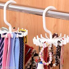 1PC White 360 Rotation Belts Rack Adjustable Ties Hanger 20 Hooks Organizer