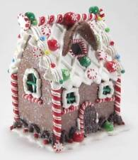 """6"""" Faux Gingerbread Cookie House with Color Changing LED Light Christmas Decor"""