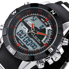 Weide Mens LCD Digital Sports Waterproof Backlight Silicone Strap Military Watch