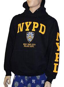 NYPD Hoodie Yellow Sleeve Print Sweatshirt Navy New York Shirt Mens Hooded NWT