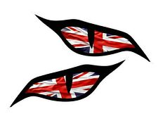 Par de ojos mal ojo Union Jack Bandera del Reino Unido Coche Moto Casco Pegatina 70x30mm EA.