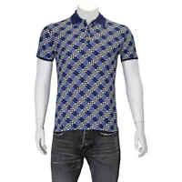 Fendi Men's BlueDamier Logo Polo Shirt