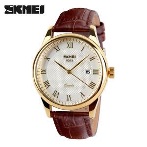 SKMEI Men Quartz Gold Watch Casual Leather Bracelet Wristwatch Male Watches Gift