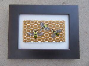HONEYBEES PICTURE HANDMADE BEADED FRAMED ORIGINAL ARTWORK HONEYBEES FRAMED ART