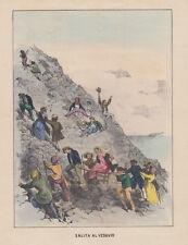 Salita al Vesuvio 1860 G.Lenghi litografia acquarellata d'epoca