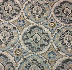 """BALLARD DESIGNS BRISTOW BLUE FLORAL GEOMETRIC MULTIUSE FABRIC BY THE YARD 54"""" W"""