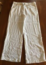TED BAKER White Wide Leg 100 Linen Turn Up Leg Trousers Pants Size 4 10 12