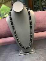 "Vintage Black Glass & Seed Bead Glass  Hunky Bead Sweater Length 30"" Necklace"