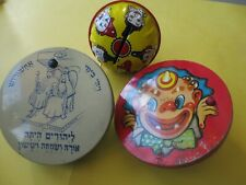 lot 3 vintage tin metal noise makers toys party