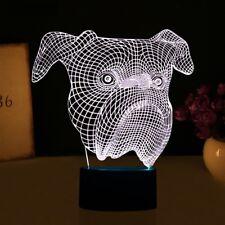 3D Bulldog Dog Night Light 7 Color Change LED Desk Lamp Touch Room Decor Gift
