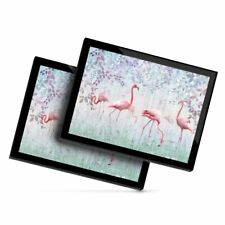 2 x Glass Placemats 20x25 cm - Pink Flamingo Birds in Nature  #24012
