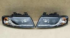 AUDI A4 02-05 B6 CONVERTIBLE SOFT TOP BLACK LED DRL DEVIL EYE HEADLIGHTS E MARK