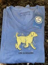 NWT Life is good Crusher V Shirt Woman's 2XL Life is Golden Dog Golden Retriever
