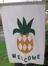 Pineapple Welcome Decorative Flag 55x36 Cotton Blend Appliqued Off White