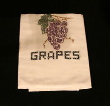 Vintage White Cotton Embroidered Kitchen Tea Towel With Grapes