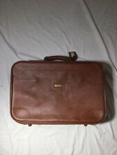 """VTG Invicta Brown Leather Suitcase Travel Luggage Expandable 21"""""""
