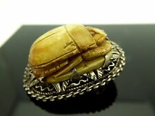 Vintage 1950's Egyptian Revival 800 Silver Faience Scarab Heiroglyph Pin Brooch